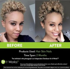 Sterk krullend kroeshaar een boost geven, kan met de Hair Skin Nails van It Works