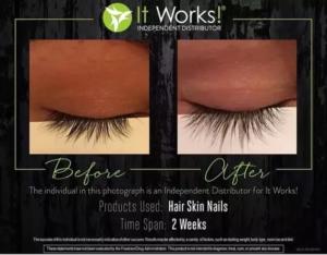 It Works Hair Skin Nails met natuurlijke vitamines en minderalen ondersteunt ook de groei naar vollere, lange wimpers