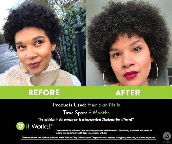 Afro hair? Kroeshaar dat geen lengte wil laten zien? Omdat krullen meer gaan krullen? Prachtige resultaten in slechts 3 maanden kun jij ook hebben met de It Works Hair Skin Nails!