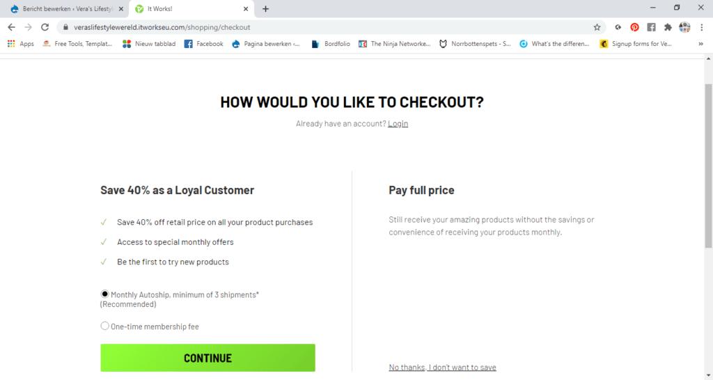 Drie minimale autoships voor zo'n 40% korting en meer online voordeel op It Works! loyal customerschap OF een eenmalig lidmaatschap voor dezelfde scherpe aanbiedingen bij Vera's Lifestyle Wereld.