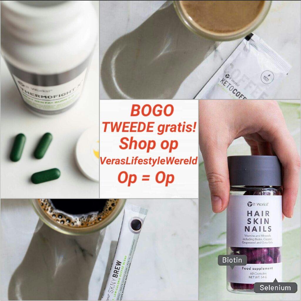 BOGO Tweede gratis! Shop op Vera's Lifestyle Wereld. Ook bij jou kan dit assortiment van It Works goede resultaten geven.