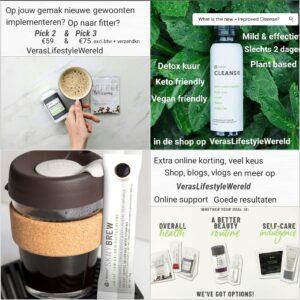 Kijk voor lopende aanbiedingen in de webshop op Vera's Lifestyle Wereld