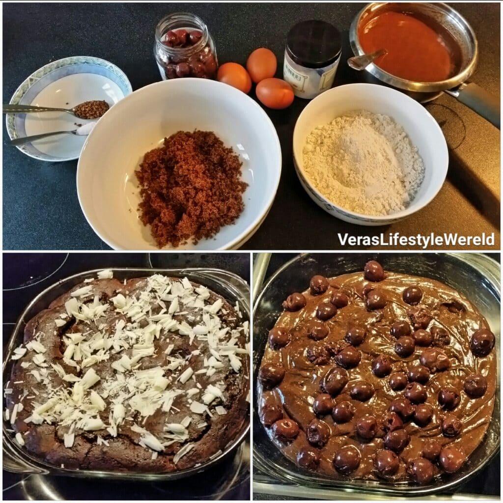 Pure chocolade brownie met kersen