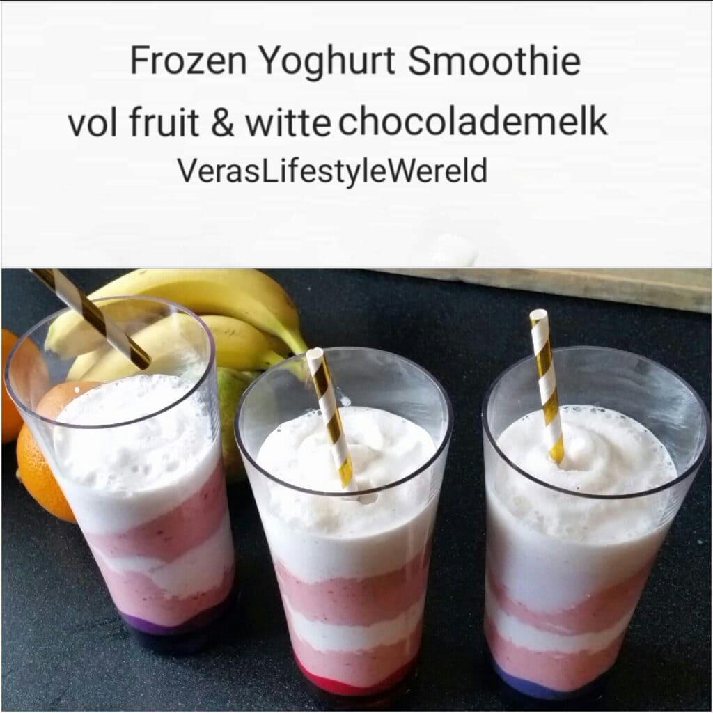 Frozen Yoghurt Smoothie vol fruit en witte chocolademelk